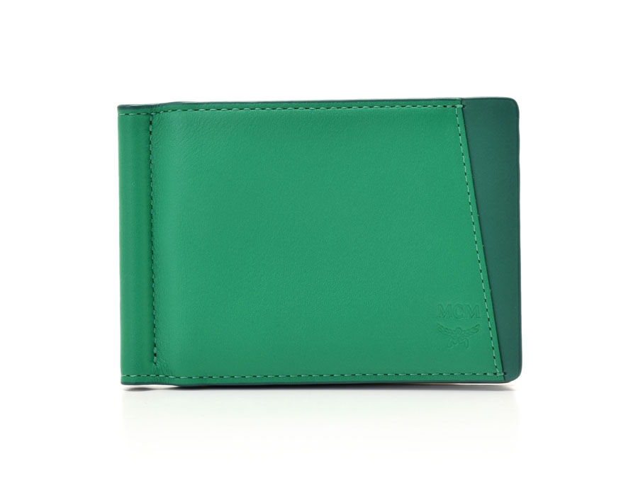 new product 5f551 71685 Unused with MCM money clip card case green calf management