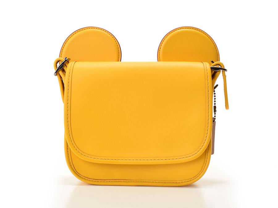 中古 コーチ ショルダーバッグ Disneyコラボ 限定 レザー 黄 F59369 アウトレット ミッキーマウス 未使用 COACH◇