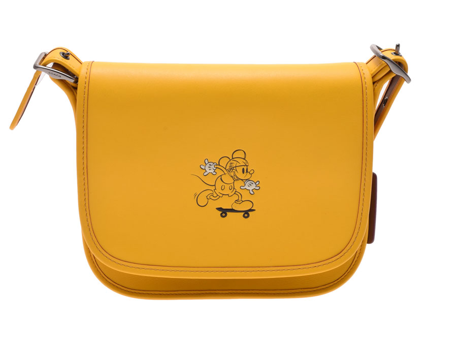 中古 コーチ ショルダーバッグ Disneyコラボ限定 ミッキーマウス レザー 黄 F59359 アウトレット 未使用 COACH ◇