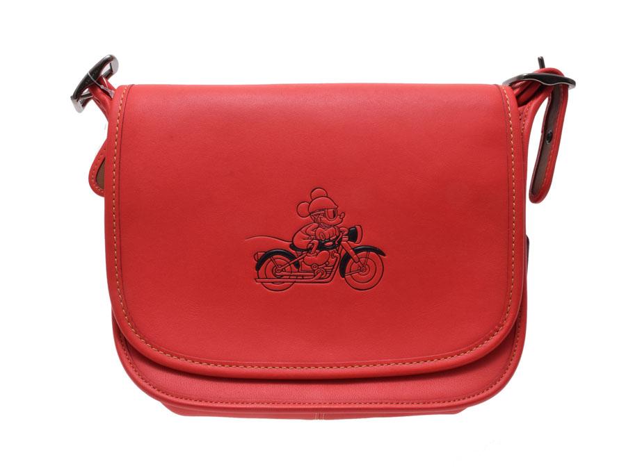 中古 コーチ ショルダーバッグ Disneyコラボ限定 ミッキーマウス レザー 赤 F59359 アウトレット 未使用 COACH ◇