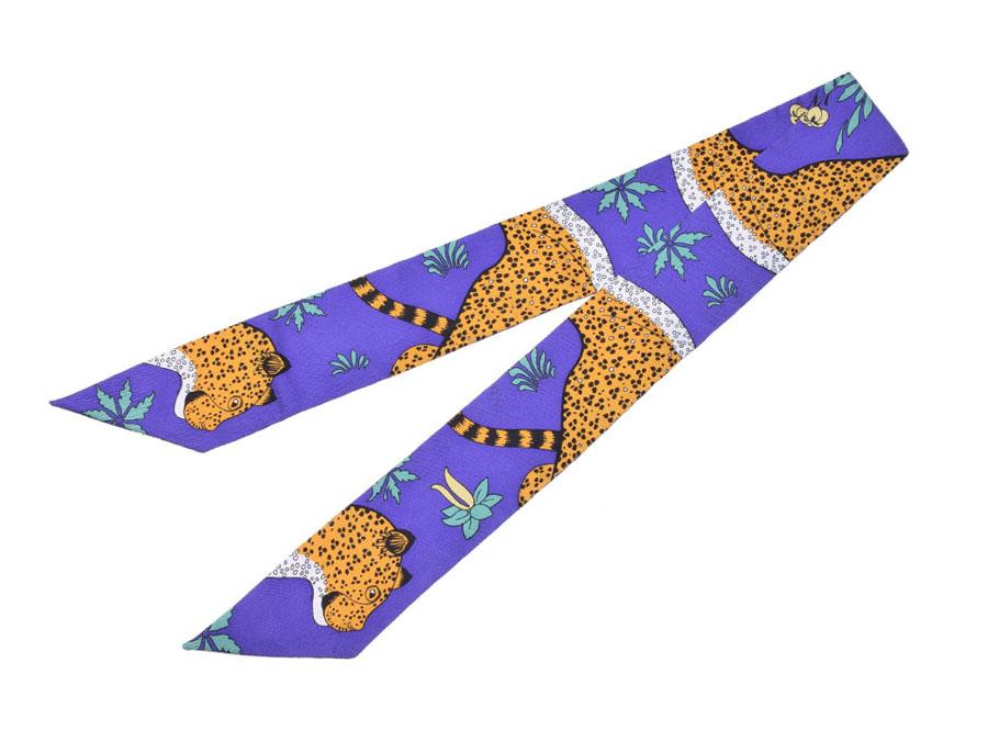 未使用エルメス・HERMES ツイリー Les Leopards ヒョウ柄 紫 シルク100% 箱