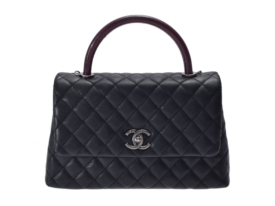 e81c9b5b43a1 Used Chanel matelasse 2WAY handbag lizard steering wheel caviar skin black  box guarantee newly CHANEL◇