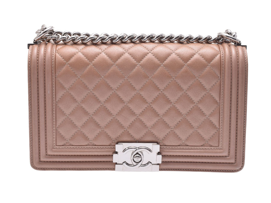 f86db78e956bde Used Chanel boy Chanel chain shoulder bag 25cm lambskin metallic pink beige  SV metal fittings CHANEL ...