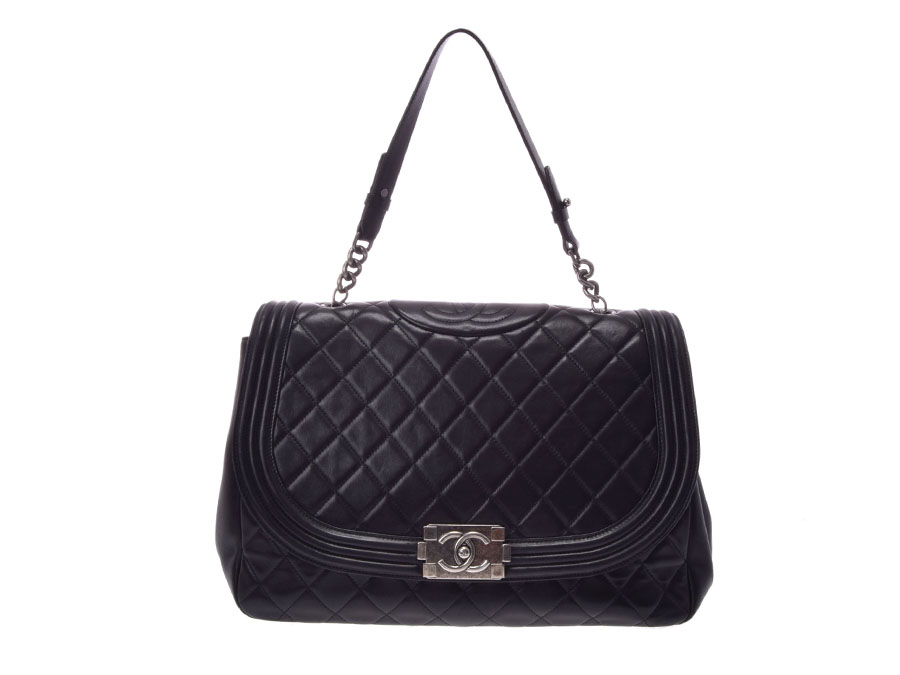 db33d74cd2e7 Used Chanel boy Chanel chain shoulder bag lambskin black SV metal fittings  guarantee CHANEL◇