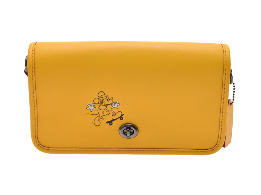 中古 コーチ ショルダーバッグ Disneyコラボ限定 ミッキーマウス レザー 黄 F59374 アウトレット 未使用 COACH◇