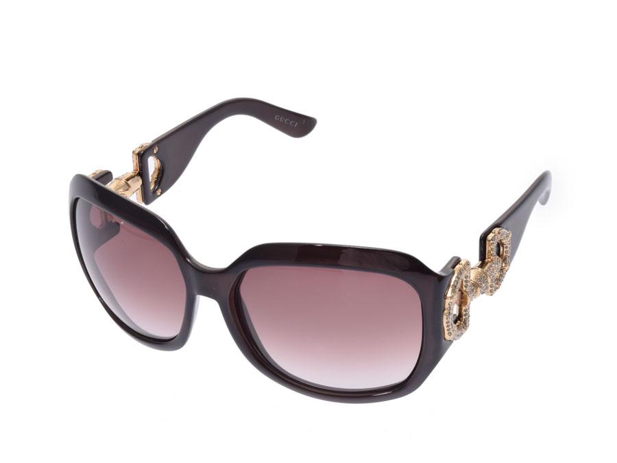 80b6682f86753 Used Gucci sunglasses bamboo tea rhinestone GG3017 S box case GUCCI◇