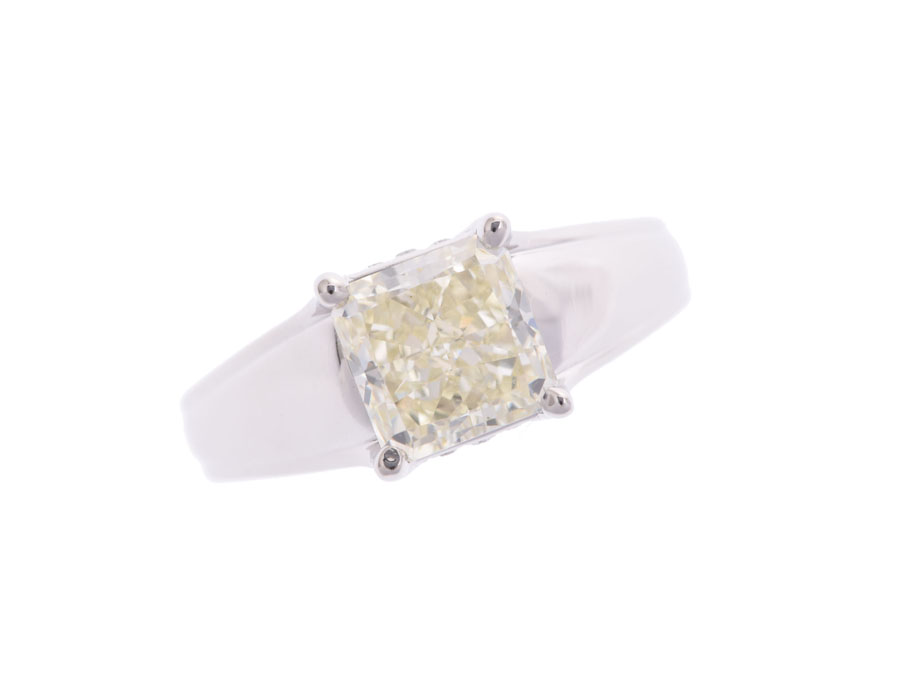 Queen クイーン クイーン リング #11 レディース ダイヤ2.039ct VYL-VS2 0.03ct PT950 6.9g 指輪 Aランク 中古 銀蔵