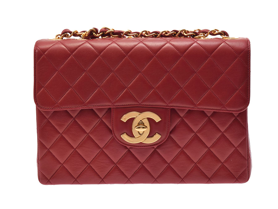 33096daff49f Used Chanel matelasse decachain shoulder bag 30cm lambskin red G metal  fittings guarantee CHANEL◇