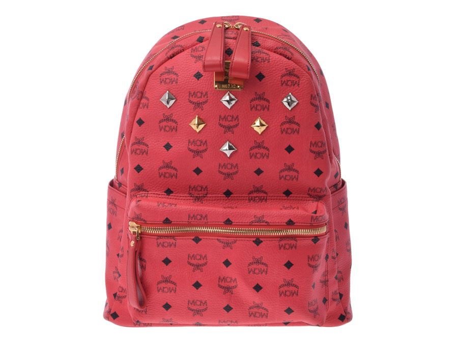 Used Mcm Backpack Studs Pvc Leather Red Rucksack