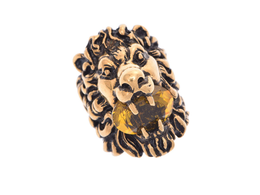 40beb6d6546 Ginzo Rakuten Ichiba Shop  Used Gucci lion head ring crystal stone ...