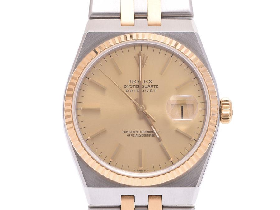 c9578fd4151d Used Rolex oyster quartz 17013 YG SS champagne clockface men zouk Oates  clock ROLEX◇