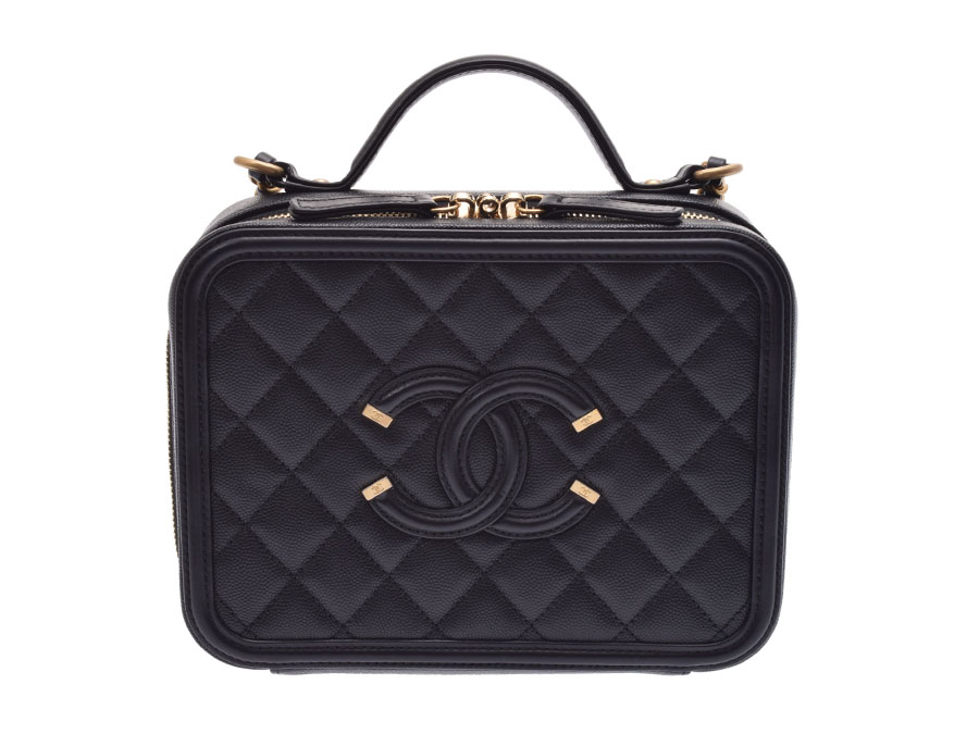 a9d77c8d9714 Ginzo Rakuten Ichiba Shop: Used Chanel vanity case caviar skin black ...