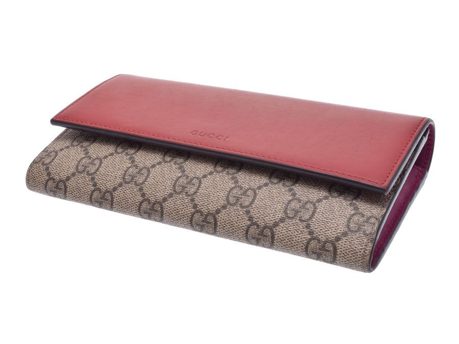 5b9325e286fc Used Gucci fastener long wallet GG スプリーム PVC/ leather red box GUCCI◇