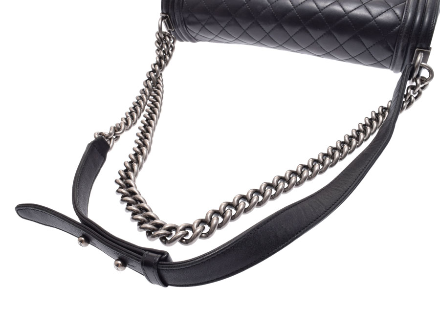 648492642d65 ... Used Chanel boy Chanel chain shoulder bag lambskin black vintage metal  fittings CHANEL◇ ...