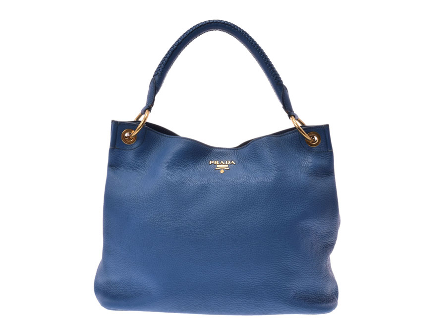 40f26ad29d6b Ginzo Rakuten Ichiba Shop  Used Prada one shoulder bag calf blue ...