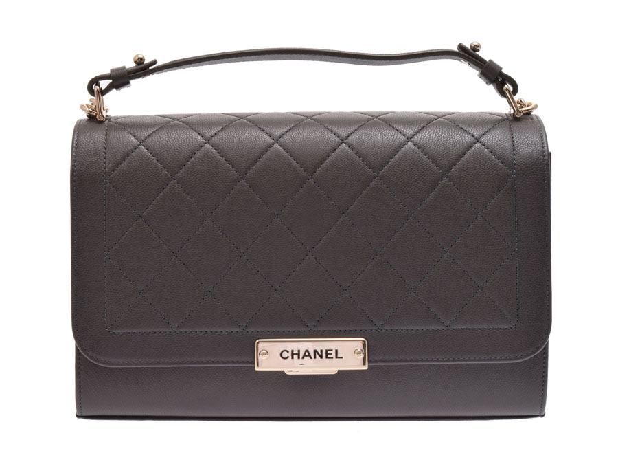 85923c3c808d Used Chanel matelasse chain shoulder bag caviar skin olive logo plate newly  CHANEL◇ ...