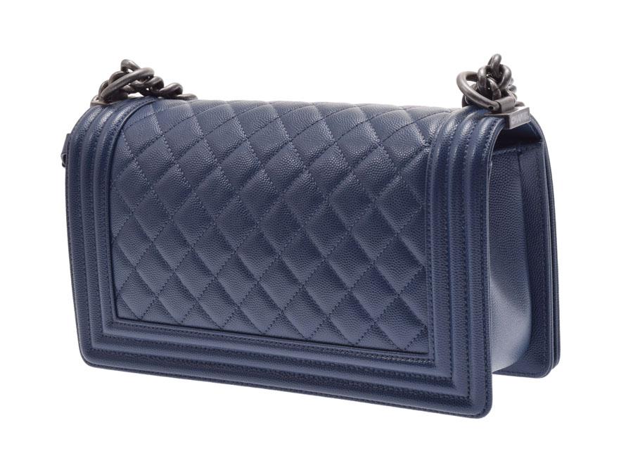 e2761e3fd5e9 ... Used Chanel boy Chanel chain shoulder bag caviar skin dark blue system  box guarantee CHANEL◇ ...