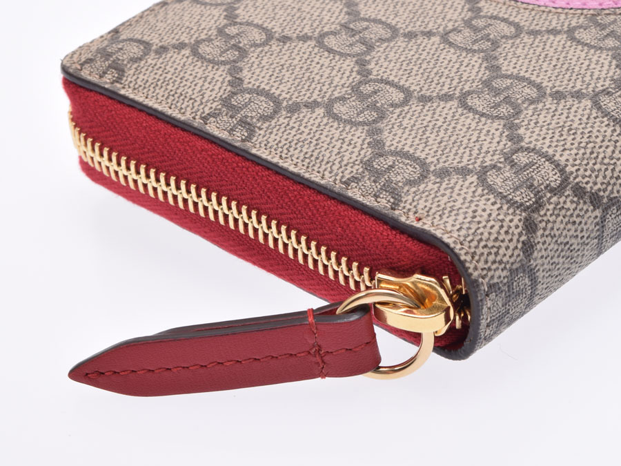 new product b2dae f02ca Used Gucci GG スプリームラウンドファスナー long wallet Bosco applique PVC beige / red dog  motif box-free GUCCI◇