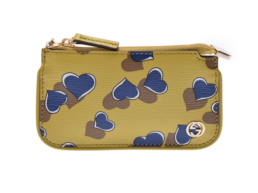 df2ded437a71 Used Gucci GG boyfriend id key ring coin case PVC leather mustard heart  pattern GUCCI belonging to