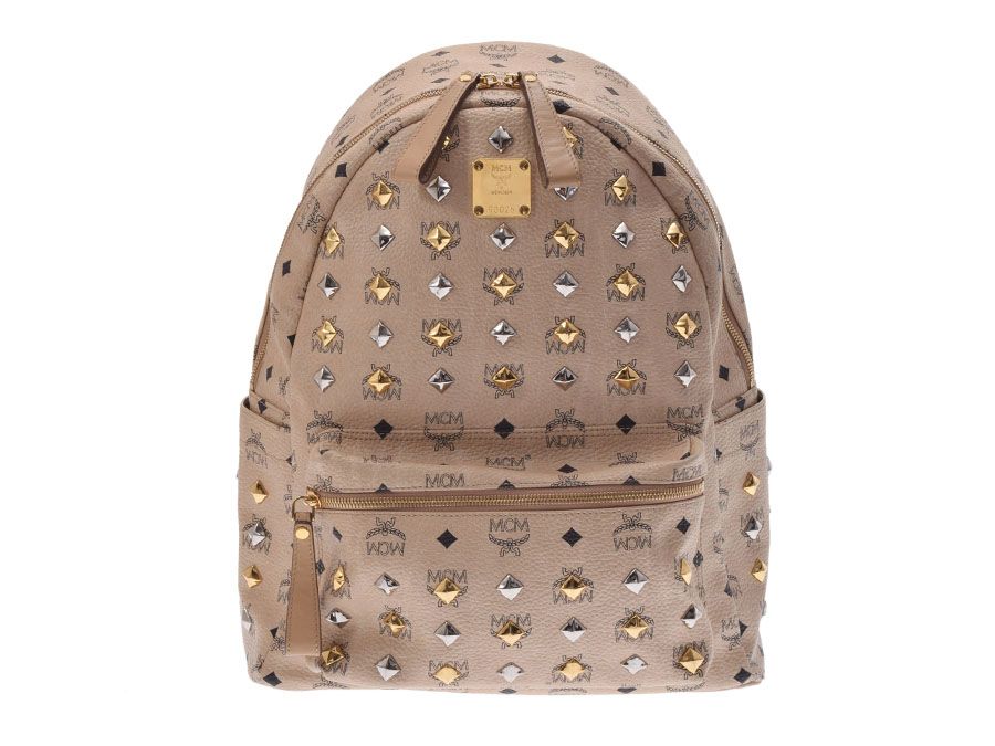 Used Mcm Backpack Studs Calf Beige Loveless Collaboration Rucksack