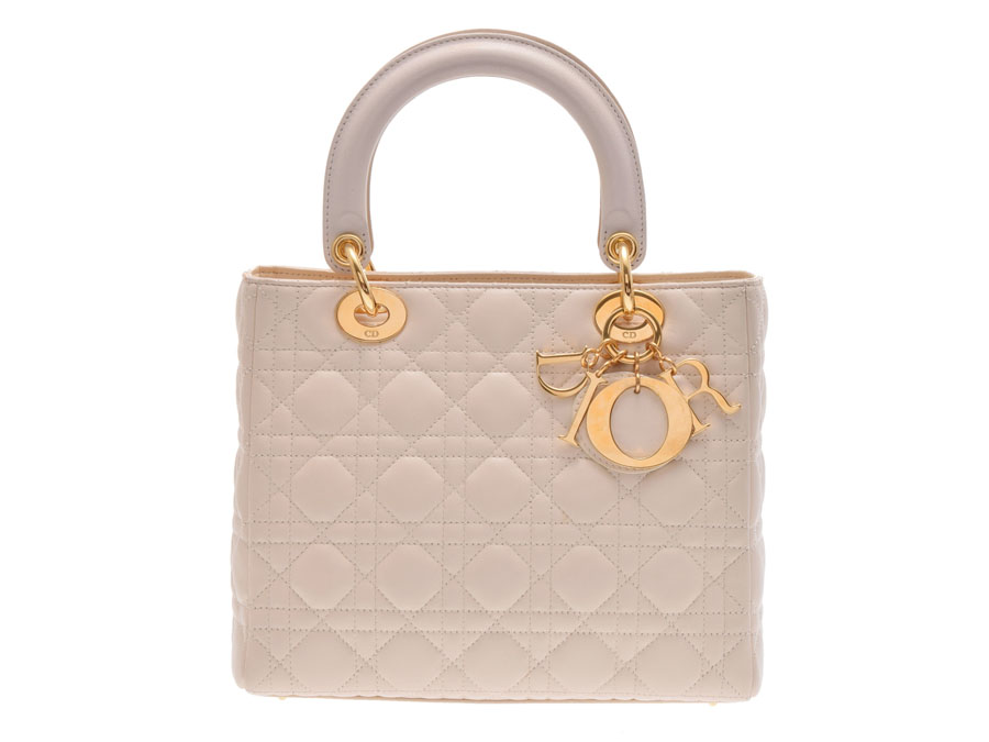 1d3f0d3a4e87 2WAY handbag CHRISTIAN DIOR with used Dior lady Dior lambskin light beige  system strap◇