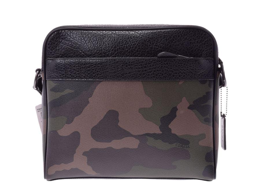 Used Coach Shoulder Bag Leather Khaki Camouflage Pattern F29052 Men Free