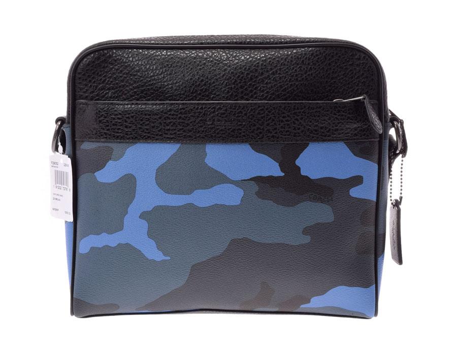 中古 コーチ ショルダーバッグ レザー 青 迷彩柄 F29052 メンズ 未使用 COACH 銀蔵
