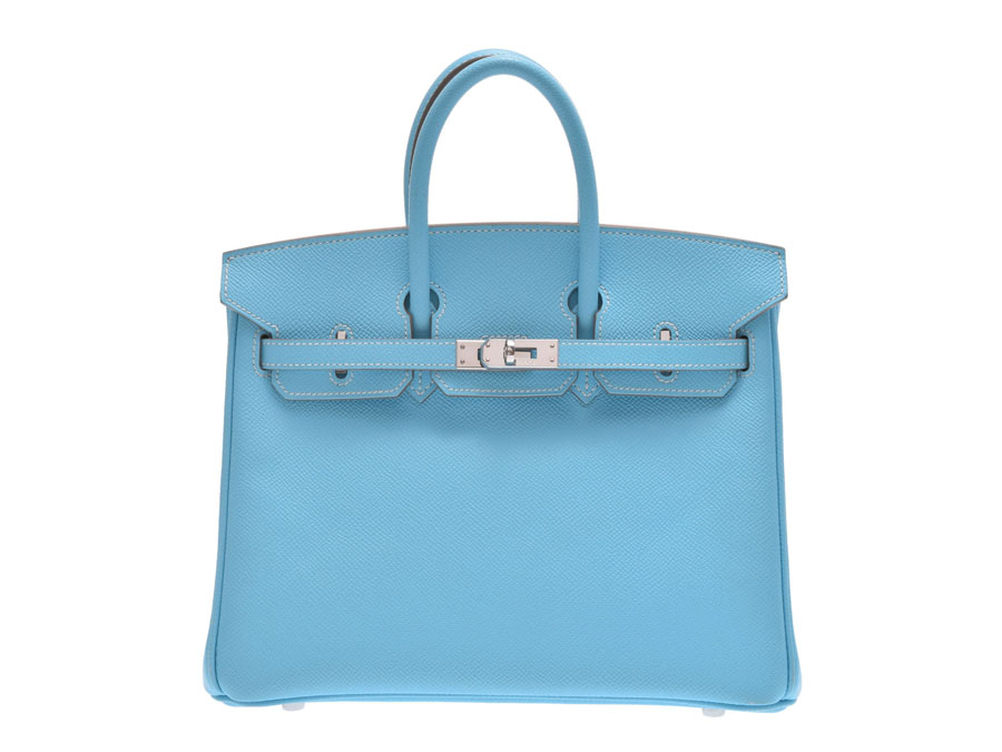 6f4525c39702 Used Hermes Birkin 25 キャンディヴォーエプソンセレステミコノス SV metal fittings □ O carved  seal bag HERMES◇