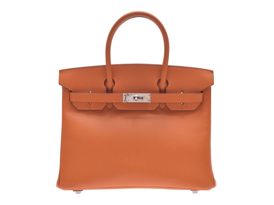 db73ff68287b Used Hermes Birkin 30 Epson orange SV metal fittings □ H carved seal bag box  HERMES◇