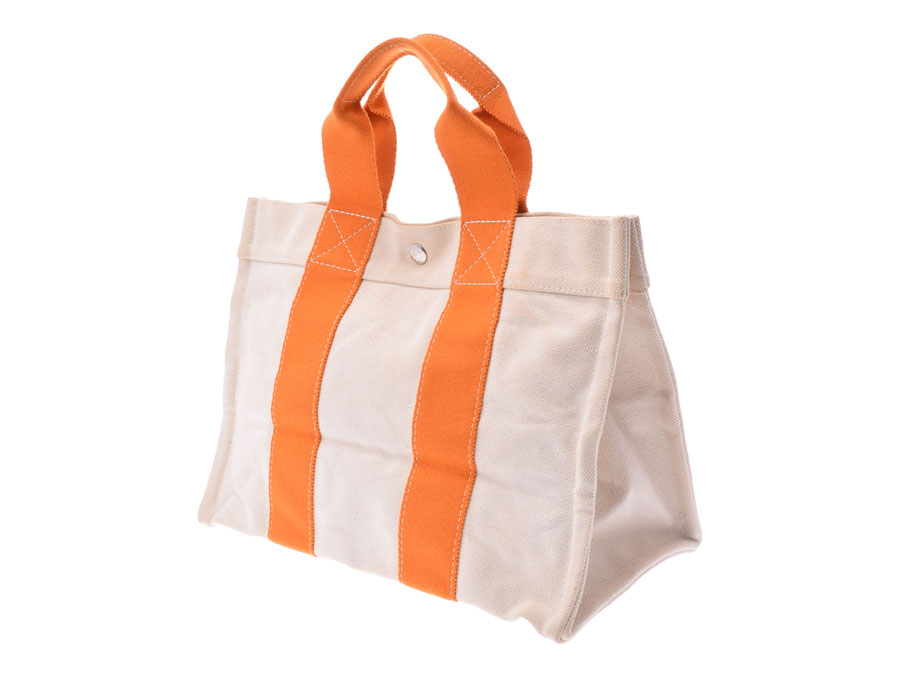 d8a1f3d32d1d Used エルメスコキアージュ PM canvas beige system   orange tote bag HERMES silver  storehouse