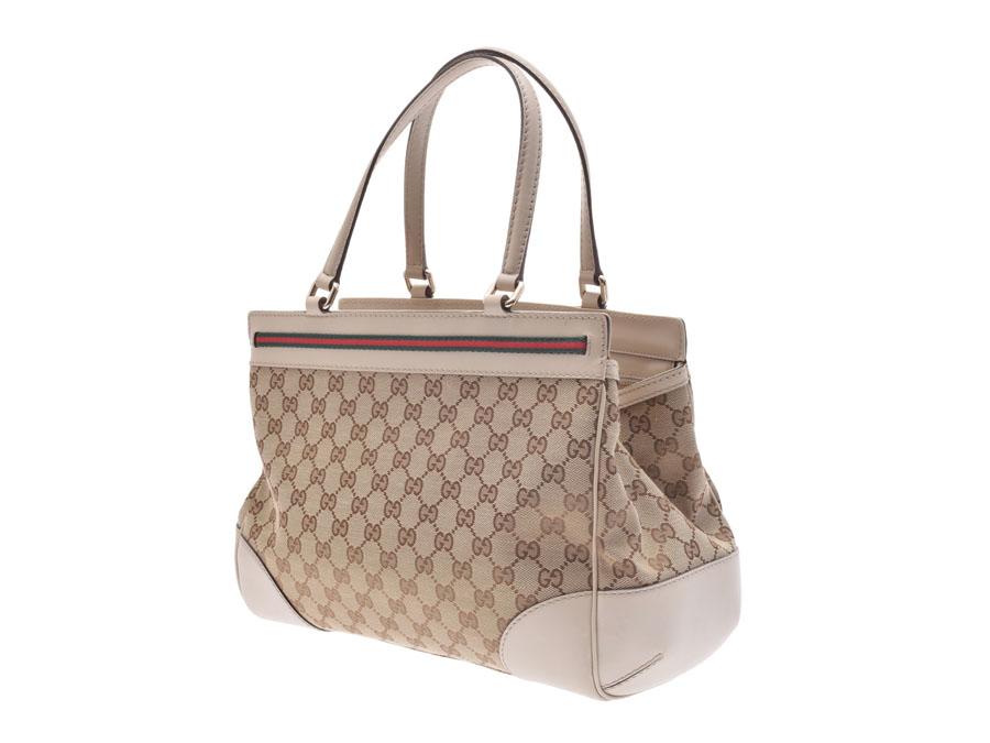 Used Gucci Handbag Gg Canvas Leather Beige System