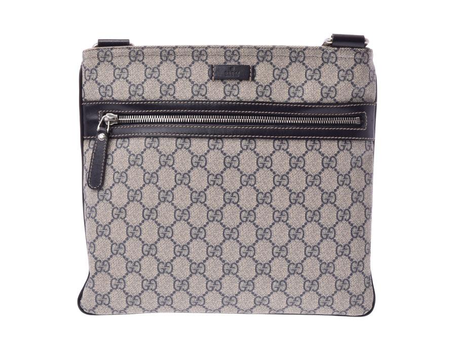 e4fa5920d27 Used Gucci shoulder bag GG スプリーム PVC black ivory GUCCI silver storehouse
