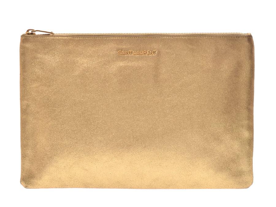 Used Saint-Laurent clutch bag leather gold SAINT LAURENT silver storehouse 4c4a853de9018