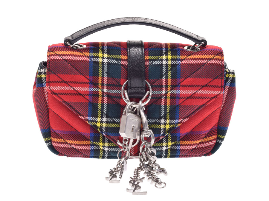 02bd53e4c201 Used Saint-Laurent baby flat chain shoulder bag canvas red tartan check  SAINT LAURENT