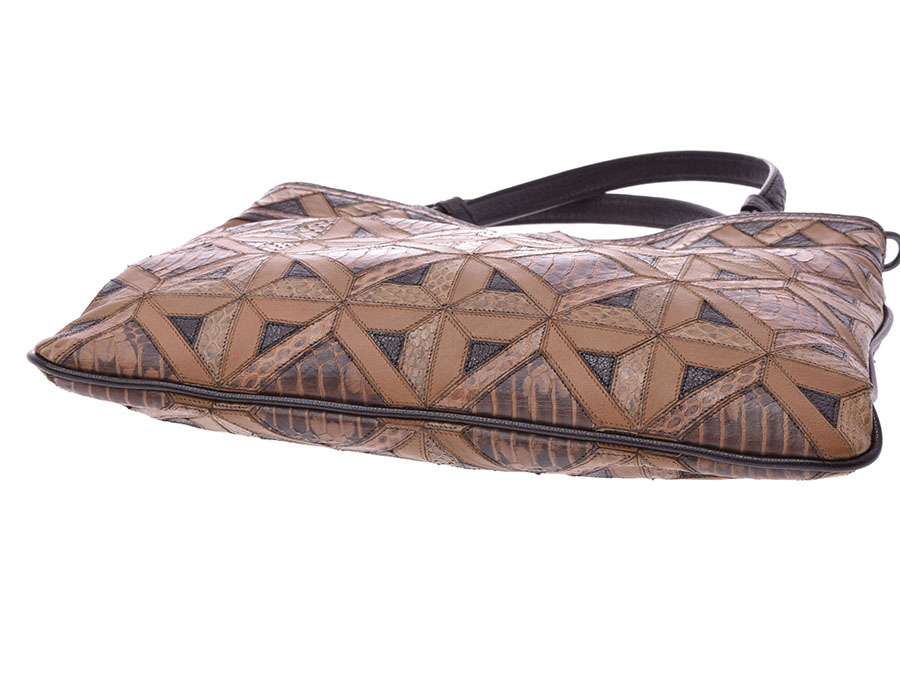 Used ボッテガヴェネタ 2WAY handbag tea leather python strap 付未使用 BOTTEGA VENETA  silver storehouse ad1bfb3f98e67