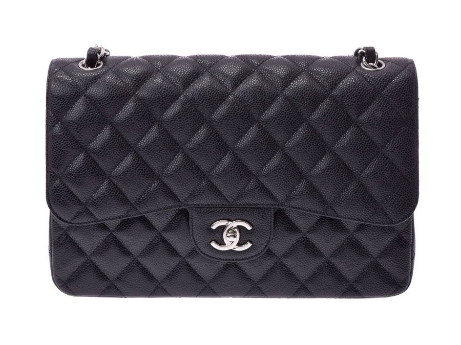 bed8eac06954 Chanel matelasse chain shoulder bag black SV metal fittings Lady's caviar  skin double flap 30cm newly beauty product CHANEL guarantee used silver  storehouse