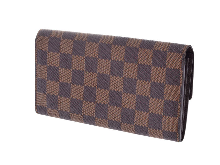 d35cc895e766 ルイヴィトン ダミエ ポルトフォイユ サラ ブラウン N61734 メンズ レディース 本革 長財布 Bランク LOUIS VUITTON 中古  銀蔵-メンズ財布