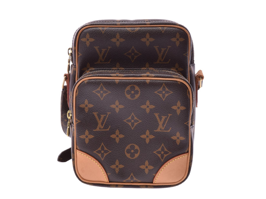 7393f3a796d Louis Vuitton monogram Amazon brown M45236 Lady's genuine leather shoulder  bag AB rank LOUIS VUITTON used silver storehouse