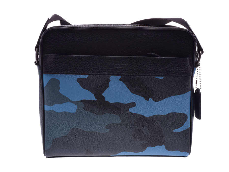 3cd1cada4a Coach shoulder bag blue camouflage pattern outlet F29052 men leather-free  beautiful article COACH used silver storehouse
