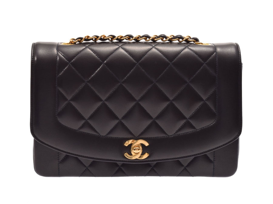 Chanel matelasse chain shoulder bag Diana 25cm black G metal fittings  Lady s lambskin A rank beauty product CHANEL box guarantee used silver  storehouse 67d8e27f16619