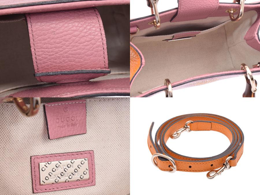 d0dcccba2fc7 ... Gucci bamboo shopper mini-Japan-limited pink / orange Lady's calf /  bamboo newly