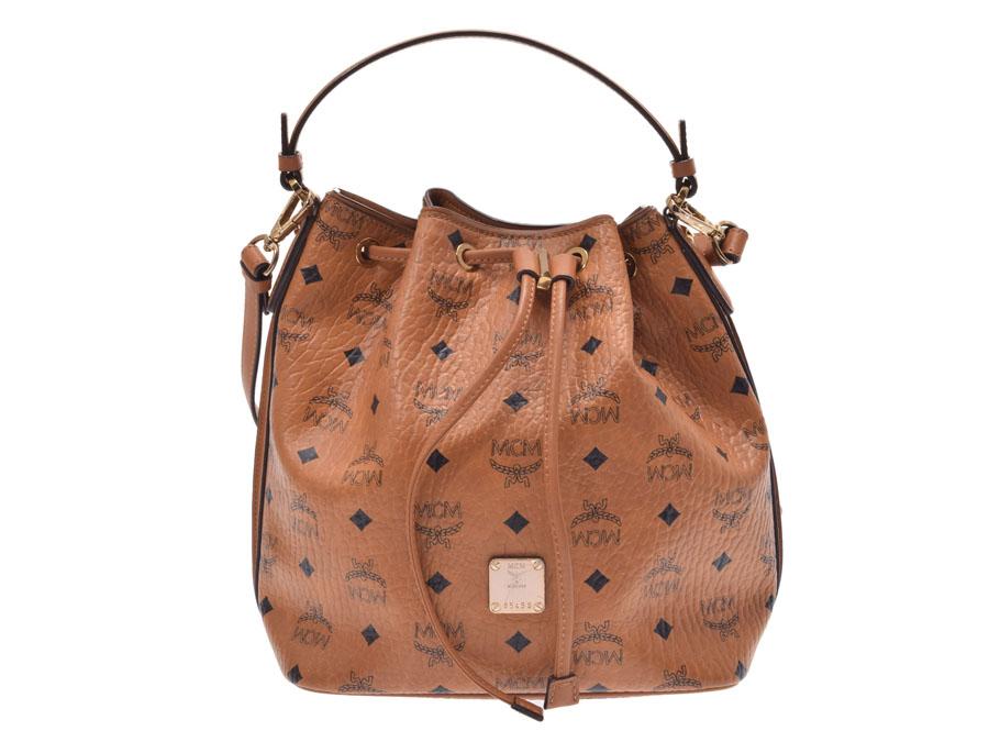 994fce0155e Ginzo Rakuten Ichiba Shop  MCM shoulder bag drawstring purse type cognac  Lady s men calf AB rank used silver storehouse