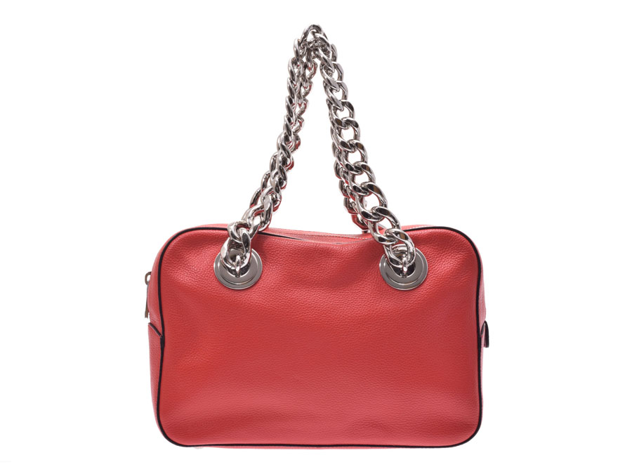 99059e470f8e Prada chain shoulder bag red 1BB017 Lady s leather A rank PRADA used silver  storehouse