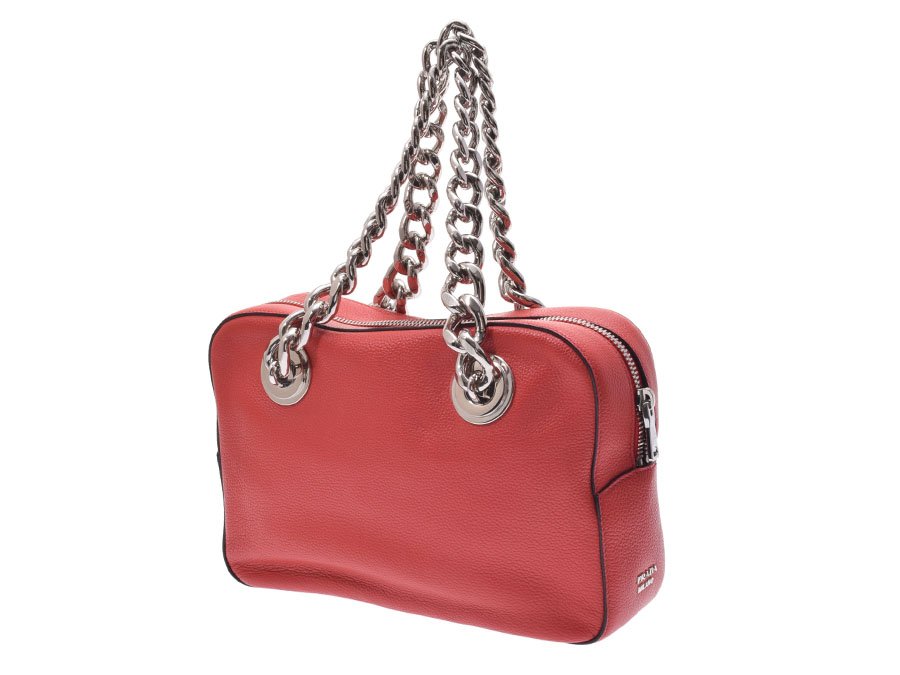 eb9bff46dd86 Ginzo Rakuten Ichiba Shop  Prada chain shoulder bag red 1BB017 ...