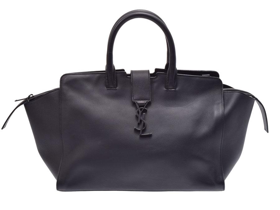 Ginzo Rakuten Ichiba Shop  Saint-Laurent downtown black Lady s leather 2WAY  handbag B rank YVES SAINT LAURENT used silver storehouse  653752cdc6d3d