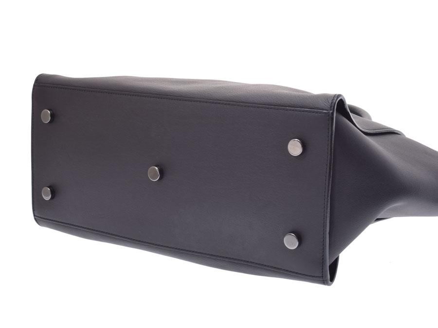 Saint-Laurent downtown black Lady s leather 2WAY handbag B rank YVES SAINT  LAURENT used silver storehouse d26667025de18