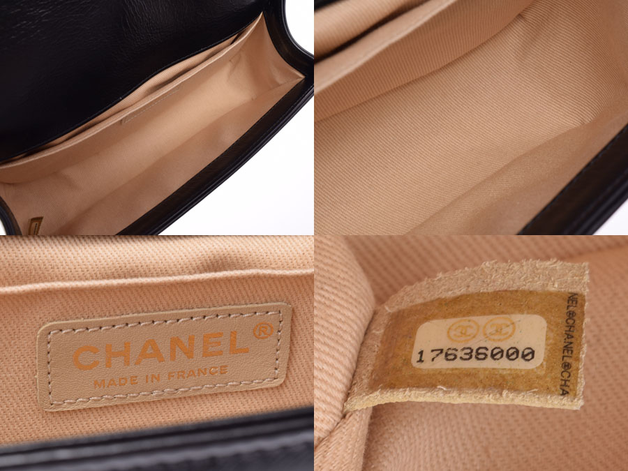 fb7c8176d605 ... Chanel boy Chanel chain shoulder bag black vintage metal fittings  Lady's calf A rank beauty product
