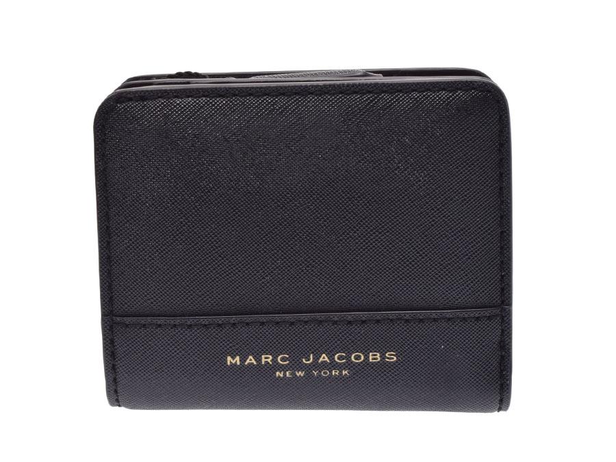 マークジェイコブス コンパクトウォレット 黒 レディース サフィアーノ 財布 アウトレット 未使用 美品 MARC JACOBS 中古 銀蔵