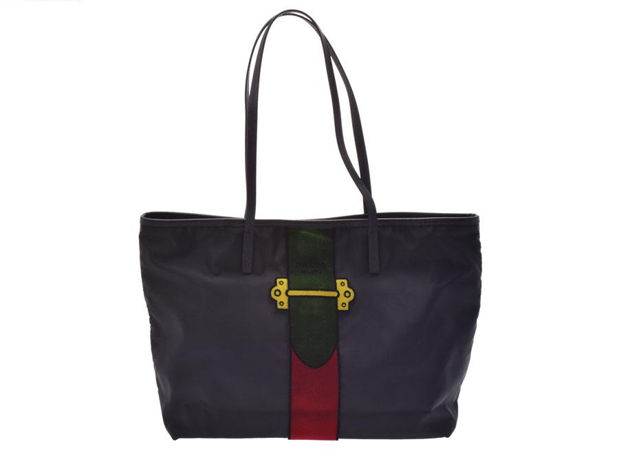 6c65c0af4f0706 Prada tote bag green red black Lady's nylon leather velour-free beautiful  article PRADA sky guarantee used silver storehouse