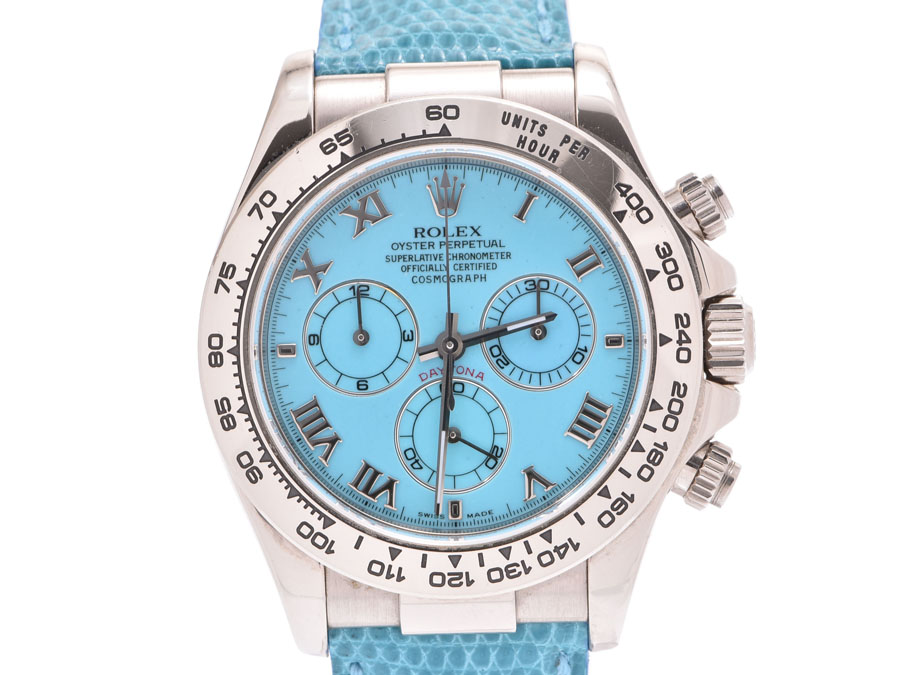Rolex Daytona Beach turquoise clockface 116519 K turn men WG/ leather belt  new article self,winding watch clock A rank beauty product ROLEX used